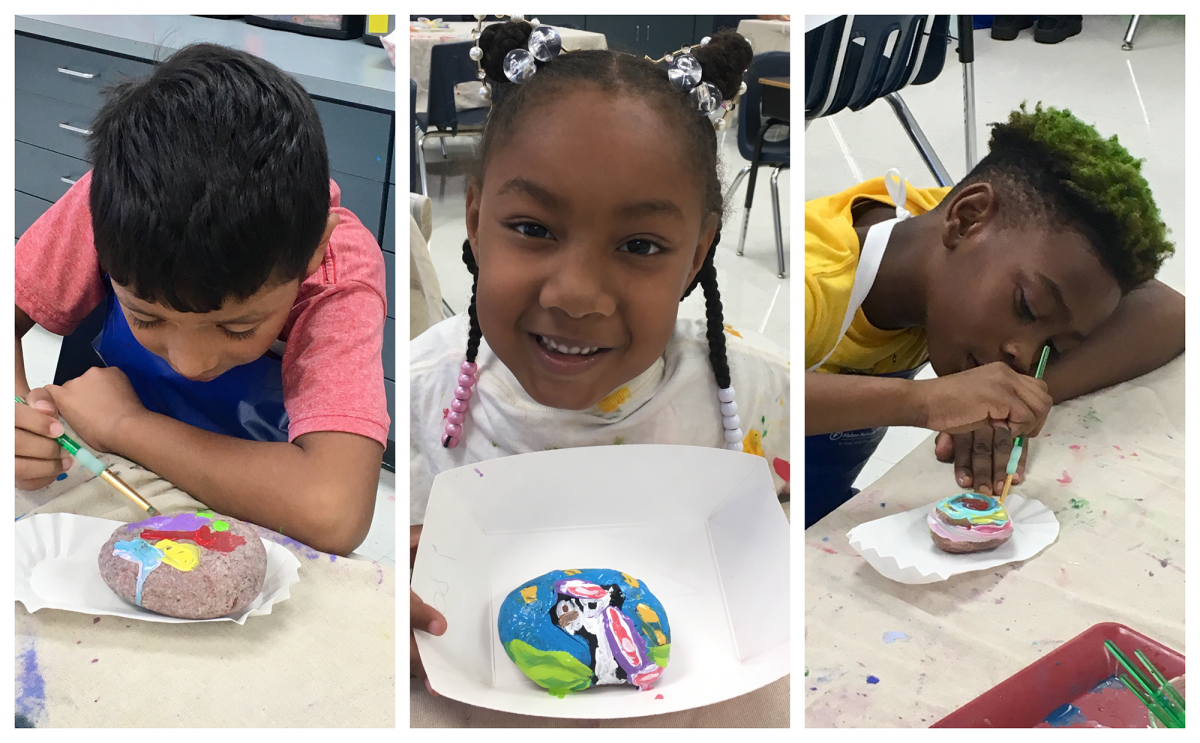 From left: Academy students, Daniel Delgado, second grade, Jodi Ross, first grade, and Wristen Wilson, third grade, paint their identity rocks. Photo submitted