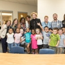 Appalachian State University Chancellor Sheri Everts with Academy students and staff