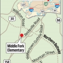 map showing location of Middle Fork Academy in Forsyth County