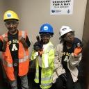 By engaging in Appalachian's Picture Yourself as a Geologist (PYES) outreach program, students at the Appalachian State University Academy at Middle Fork learn about careers in geoscience. The students pictured here are wearing safety gear used by geologists. Photo submitted
