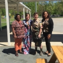 Pictured, from left to right, are Verschello Nelson, assistant principal of the Academy at Middle Fork; Dr. Amie Snow, director of curriculum and instruction; Ryan Porter; and Tasha Hall-Powell, the academy's principal. Photo submitted