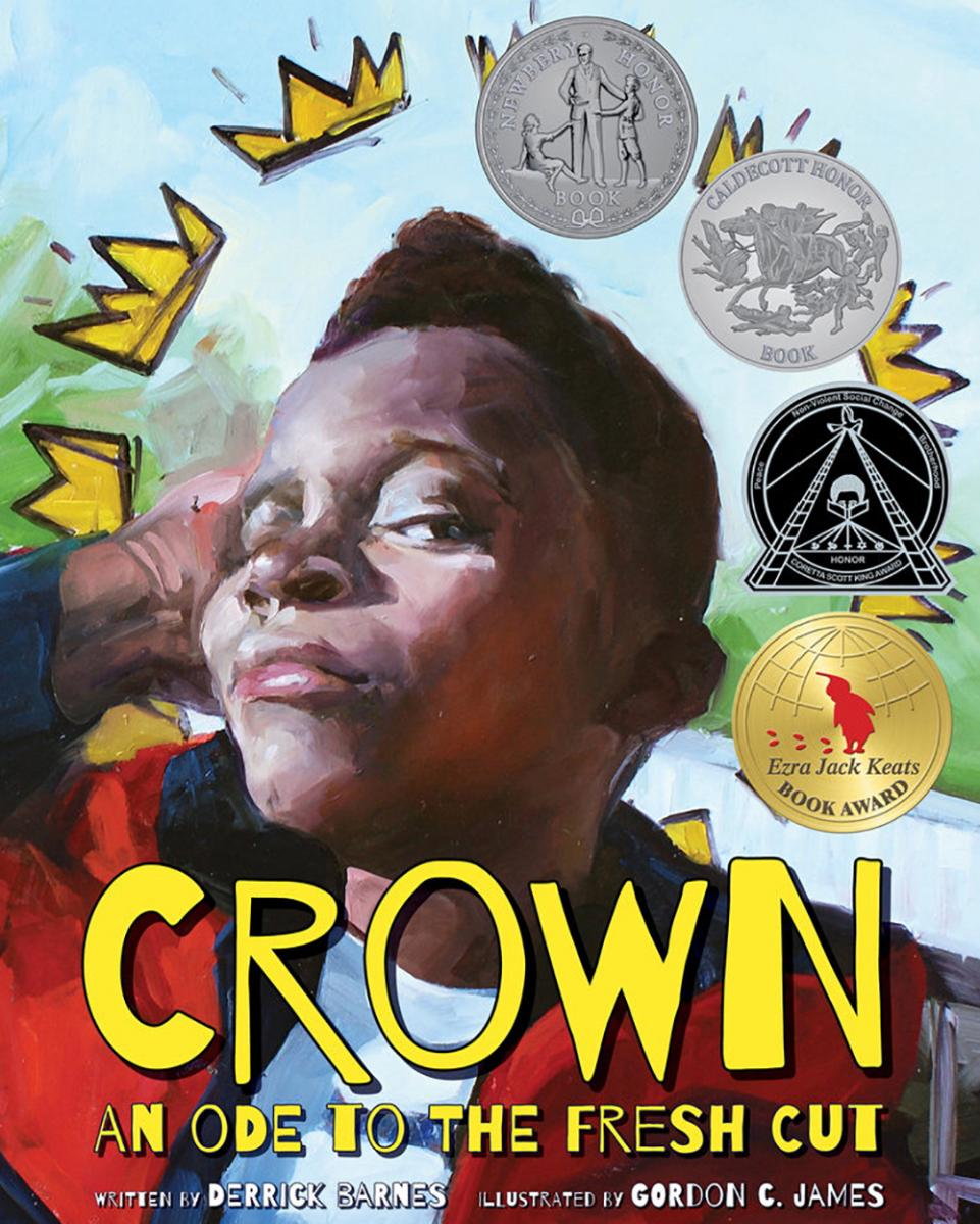 The cover art of Derrick Barnes' award-winning book, CROWN: An Ode To The Fresh Cut. Artwork submitted
