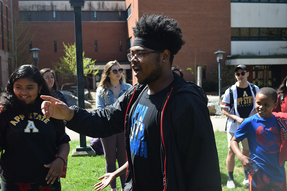 Appalachian student, Jay Edwards, leads Academy students in a game. Photo submitted